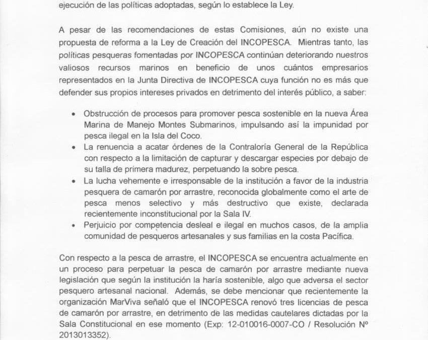 (Español) Frente Por Nuestros Mares clama por urgente reforma de INCOPESCA