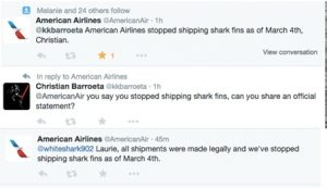 American Airlines announces on twitter that it will no longer transport shark fin cargos